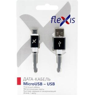 Кабель USB-microUSB 1м (Flexis Braided FX-CAB-BDMU-BL) (черный)  - КабелиUSB-, HDMI-кабели, переходники<br>Кабель для зарядки и синхронизации, разъемы USB-microUSB, тип USB 2.0, плетеный, длина 1м.