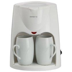 Polaris PCM 0210 - Кофеварка, кофемашинаКофеварки и кофемашины<br>Polaris PCM 0210 - капельная, для молотого кофе, постоянный фильтр, одновременная раздача на 2 чашки, корпус из пластика