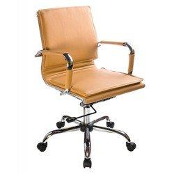 Кресло руководителя Бюрократ CH-993-Low (светло-коричневый, искусственная кожа) - Стул офисный, компьютерныйКомпьютерные кресла<br>Классическое кресло с обивкой из кожи, эргономичная спинка, хромированные подлокотники, механизм качания, фиксация в нескольких положениях, регулировка по высоте (система газлифт)