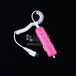 Автомобильное зарядное устройство USB - micro USB (розовый) - Автомобильное зарядное устройствоАвтомобильные зарядные устройства<br>Аксессуар предназначен для зарядки устройства от прикуривателя автомобиля.