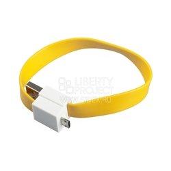 Дата-кабель USB - micro USB (на магните, плоский) (SM001681) (желтый) - КабелиUSB-, HDMI-кабели, переходники<br>Позволит подключить к персональному компьютеру любые устройства с разъемом micro USB.