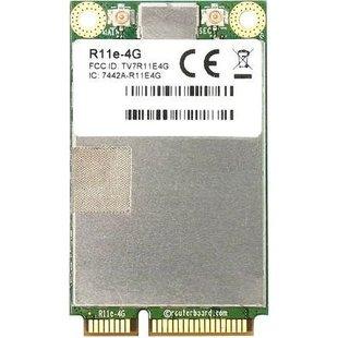 MikroTik R11e-4G - 3G модемМодемы<br>Внутренний 4G/LTE модем, порт mini-PCI Express, 2 разъема (Hirose) u.FL, поддержка 3/7/20/31/41n/42/43 Bands, LTE – 4 (150Mbps Downlink, 50Mbps Uplink), LTE FDD Bands – 3 (1800MHz), 7 (2600MHz), 20 (800MHz), 31 (450MHz)