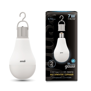Лампа Gauss LED A60 7W E27 470lm 4100K (102402207) - Лампочка