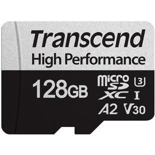 Transcend TS128GUSD330S + адаптер - Карта флэш-памятиКарты флэш-памяти<br>Карта памяти microSDXC, объем 128Гб, UHS-I U3, V30.