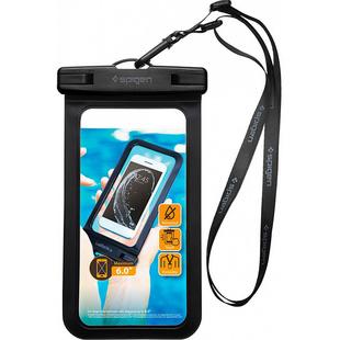 Чехол для смартфона 6 (Spigen Velo A600 000EM21018) (черный) - Универсальный чехол для телефонаУниверсальные чехлы для мобильных телефонов<br>Spigen Velo A600 (000EM21018) представляет собой водонепроницаемый чехол для смартфонов с диагональю экрана до 6 дюймов. Продуманный замок, который не пропускает воду внутрь чехла, позволит ходить в бассейн и купаться в водоеме вместе со своим смартфоном.