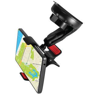 Автомобильный держатель Ginzzu GH-389B (черный) - Автомобильный держатель для телефонаАвтомобильные держатели для мобильных телефонов<br>Универсальный автомобильный держатель-прищепка для мобильных устройств шириной до 105 мм. Крепление на лобовое стекло, поворот на 360°. Крепление на переднюю панель. Регулировка по вертикали - 130°. Мягкие вкладыши исключают проскальзывание и повреждение устройства.