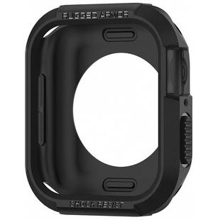Чехол для Apple Watch series 4 40 mm (Spigen Rugged Armor 061CS24480) (черный) - Чехол для умных часовЧехлы для умных часов<br>Spigen Rugged Armor представляет собой стильный, высокопрочный чехол для Apple Watch series 4 40 mm. Аксессуар выполнен из гибкого, износостойкого термополиуретана и обеспечивает первоклассную защиту корпуса смарт-часов. Девайс достаточно просто вставляется в чехол, а специальные прорези сделают доступными все функции устройства.