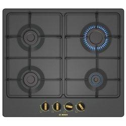 Bosch PGP6B3B60R (черный) - Варочная поверхностьВарочные панели<br>Bosch PGP6B3B60 - газовая варочная поверхность, эмаль, 58.20х52 см, черный.