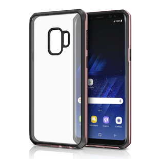 Чехол-накладка для Samsung Galaxy S9 Plus (ITSKINS HYBRID EDGE SG9P-VNRLD-ROBK) (черно-розовый) - Чехол для телефона