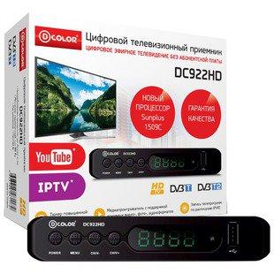 TV-тюнер D-COLOR DC922HD - ТВ тюнерTV-тюнеры<br>TV-тюнер D-COLOR DC922HD - исполнение: внешнее, DVB-T, DVB-T2, Выход HDMI, воспроизведение файлов, Пульт ДУ, USB 2.0 Type A
