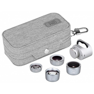 Набор объективов Momax X-Lens Pro 4 in 1 (CAM7W) (серебристый) - Объектив для мобильного телефона, планшетаОбъективы для мобильных телефонов и планшетов<br>Momax X-Lens Pro 4 in 1 представляет собой комплект объективов для смартфона, благодаря которым качество съемки фото и видео значительно улучшится. В комплекте поставляется 4 объектива, которые рассчитаны для различных режимов съемки.