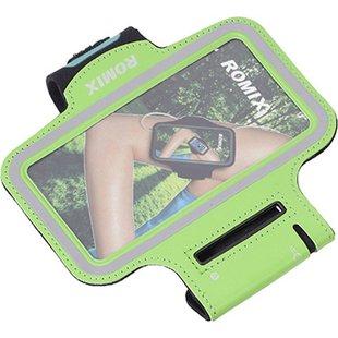 Спортивный чехол на бицепс для смартфонов 5.5 (Romix Arm Belt RH07-5.5) (зеленый) - Универсальный чехол для телефонаУниверсальные чехлы для мобильных телефонов<br>Romix Arm Belt RH07 представляет собой функциональный спортивный чехол на руку для смартфонов с диагональю экрана 5.5 дюймов. Он выполнен из прочной водоотталкивающей ткани и обеспечивает качественную защиту телефона от загрязнения. Защитный экран позволяет в полной мере использовать сенсор коммуникатора, что исключает необходимость постоянного изъятия гаджета из чехла. Аксессуар отлично подойдет для занятий спортом или прогулок на свежем воздухе.
