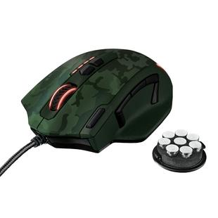 Trust GXT 155C Caldor Gaming Mouse Green camouflage USB - МышьМыши<br>Проводная мышь, интерфейс USB, 11 кнопок, 100-4000 dpi, расширенная версия ПО для программирования кнопок и создания макросов.