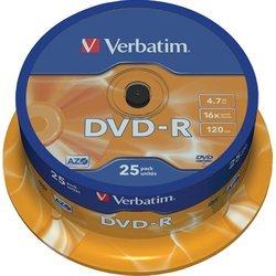 Диск DVD-R Verbatim 4.7Gb 16х Cake Box (25шт) (43522) - CD, BD дискCD, BD диски<br>DVD+R Verbatim - это записываемые диски емкостью 4.7 Гб, имеют серебристо-матовое покрытие. На них можно писать маркером для компакт и DVD-дисков.