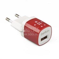 Универсальное сетевое зарядное устройство, адаптер 1хUSB, 1А (Belkin R0003593) (белый, красный) - Сетевой адаптер 220v - USB, ПрикуривательСетевые адаптеры 220v - USB, Прикуриватель<br>Сетевое зарядное устройство послужит незаменимым аксессуаром для продолжительной работы вашего девайса.