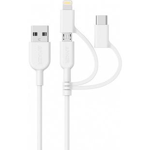 Кабель USB - Lightning, USB-C, microUSB ( Anker Powerline II A8436) (белый) - Кабели Адыгейск аксессуары для пк