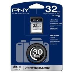 pny performance sdhc class 10 uhs-i u1 32gb