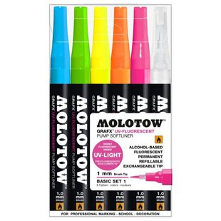Molotow Набор маркеров Grafx UV-Fluorescent Basic set 1, 6 шт. (200471)