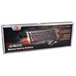 Клавиатура + мышь A4Tech Bloody Q1500 USB (Q110+Q9) (черный) - Мышь, клавиатура для компьютера и планшетаКлавиатуры, мыши, комплекты<br>Игровой комплект, состоящий из клавиатуры и мыши. Мембранная игровая клавиатура изготовлена из высококачественных материалов и имеет влагозащищенный корпус.