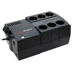 ИБП CyberPower BS650E 650VA/360W (черный) - Источник бесперебойного питания, ИБПИсточники бесперебойного питания<br>CyberPower BS650E - интерактивный источник бесперебойного питания, 1-фазное входное напряжение, выходная мощность 650 ВА 360 Вт, выходных разъемов: 6 (с питанием от батарей - 3), интерфейсы: USB, форма выходного сигнала: ступенчатая аппроксимация синусоиды.
