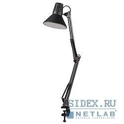 ЭРА N-121-E27-40W-BK (черный) - ОсвещениеНастольные лампы и светильники<br>Настольный светильник на струбнице, лампа накаливания, мощность 40 Вт, питание от сети.