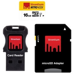 strontium nitro microsdhc class 10 uhs-i u1 433x 16gb + sd adapter & usb card reader