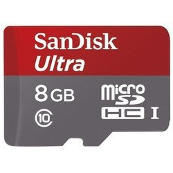 sandisk ultra microsdhc class 10 uhs-i 48mb/s 8gb + sd adapter