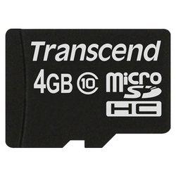 Transcend TS4GUSDC10 - Карта флэш-памятиКарты флэш-памяти<br>Transcend TS4GUSDC10 - карта памяти microSDHC, Class 10, объем 4 Гб