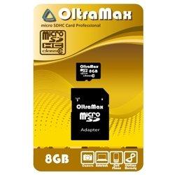 OltraMax  microSDHC Class 10 8GB + SD adapter - Карта флэш-памятиКарты флэш-памяти<br>OltraMax  microSDHC Class 10 8GB + SD adapter - карта памяти microSDHC, Class 10, объем 8 Гб, в комплекте адаптер на SD