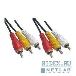 Кабель 3xRCA (M) - 3xRCA (M) 3m (VCOM VAV7150-3M) - Кабель, переходник для TV и видеоКабели, переходники для TV и видео<br>Предназначен для устройств с соответствующими разъемами.
