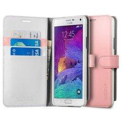 Чехол-книжка для Samsung Galaxy Note 4 Spigen Wallet S (SGP11148) (розовый) - Чехол для телефонаЧехлы для мобильных телефонов<br>Чехол-книжка Spigen Wallet S защитит смартфон от грязи, пыли, брызг и других внешних воздействий.