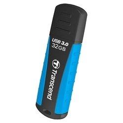 Transcend JetFlash 810 32Gb (черный/синий) - USB Flash driveUSB Flash drive<br>Transcend JetFlash 810 32Gb - флэш-накопитель 32 Гб, интерфейс USB 3.0, водонепроницаемый корпус, материал корпуса: резина