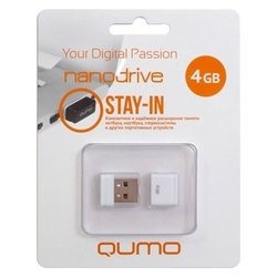 Qumo nanoDrive 4Gb (белый) - USB Flash driveUSB Flash drive<br>Qumo nanoDrive 4Gb - флэш-накопитель 4 Гб, интерфейс USB 2.0