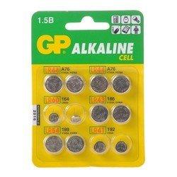 Батарейки (GP ACM01-CR12) (12 шт.) - Батарейка, аккумуляторБатарейки и аккумуляторы<br>В комплекте: 2 x LR41 (192), 2 x LR43 (186), 4 x LR44 (A76), 2 x LR54 (189), 2 x LR60 (164)