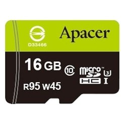apacer microsdhc class 10 uhs-i u3 (r95 w45 mb/s) 16gb + sd adapter