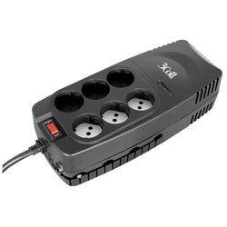 3Cott 1000VA-AVR - Источник бесперебойного питания, ИБПИсточники бесперебойного питания<br>Стабилизирует напряжение, форма выходного сигнала: ступенчатая синусоида, номинальное входное напряжение: 175V - 275V, разъемы:6 Shuko, суммарная мощность нагрузки 1000 ВА, суммарная мощность нагрузки 500 Вт.