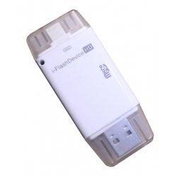 Переходник Lightning - USB для Apple iPhone 5, 5C, 5S, 6, 6 plus, iPad 4, Air, Air 2, mini 1, mini 2, mini 3 (Palmexx PX/CBL- I-FL) (белый) - КабелиUSB-, HDMI-кабели, переходники<br>Переходник с разъемами: USB 2.0, Lightning 8-pin, поддержка MicroSD/I-Flash Device HD.