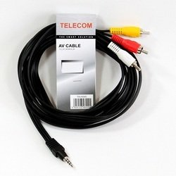 Кабель 3.5 Jack (M) - 3хRCA (M) (Telecom TAV4545-3M) (черный) - Кабель, переходник для TV и видео