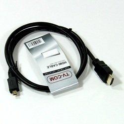 Кабель HDMI - microHDMI 1.8м (TV-COM CG583K-1.8M) (черный) - HDMI кабель, переходникHDMI кабели и переходники<br>Кабель с разъемами HDMI - microHDMI, версия 1.4, поддержка 3D, длина 1.8 метра.