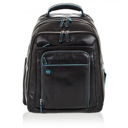 Рюкзак PIQUADRO Blue Square (CA1813B2, N) (черный) - КожаКожа<br>Материал верха - кожа натуральная, отделение для ноутбука, оттделения для планшета, отделения для кредитных карт, карман для зонта, карман для бутылки.