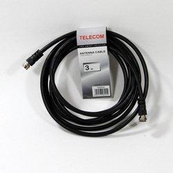 Кабель антенный RG59 F (m) - F (m) 3м (Telecom TAN9520-3M) (черный) - Кабель, переходник для TV и видеоКабели, переходники для TV и видео<br>Кабель соединительный антенный имеет тип штекера RG-59 «F» - RG-59 «F»