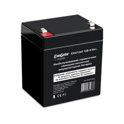 Аккумуляторная батарея Exegate EXG1245 - Батарея для ибпАккумуляторные батареи<br>Необслуживаемая герметичная свинцово-кислотная аккумуляторная батарея, номинальная емкость 4.5 Ач, номинальное напряжение 12 В, тип клемм: F1.