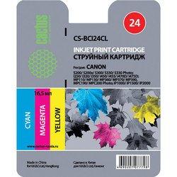Картридж для Canon S200, S200x, S300, S330, S330 Photo, i250, i320, i350, i450, i455, i470D, i475D, MP110, MP130, MP360, MP370, MP390, MPC190, MPC200 Photo, iP1000, iP1500, iP2000 (Cactus CS-BCI24CL) (трехцветный) - Картридж для принтера, МФУКартриджи<br>Совместим с моделями: Canon BJ S330, i 250, 255, 320, 350, 355, 450, 455, 470, 475, imageClass MP360, MP370, MP390, MPC190, MPC200, MultiPass C190, C200, F20, MP360, MP370, Pixma iP 1000, 1500, 2000, Pixma MP110, 130, 410, 430, Pixus 320, 320i, 455, 455i, 475, MP10, MP360, MP370, MP375,MP390, MP5, S 200, 300, 330 Phot, SmartBase 360 MUlt iP aSS, 370 MUlt iP aSS, 390 MUlt iP aSS, MP360, MP360S, MP370, MP375, MP390, MPC190, MPC200
