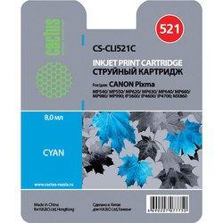 Картридж для Canon Pixma MP540, MP550, MP560, MP620, MP630, MP640, MP660, MP980, MP990, iP3600, iP4600, iP4700, MX860, MX870 (Cactus CS-CLI521C) (голубой) - Картридж для принтера, МФУКартриджи<br>Совместим с моделями: Canon Pixma MP540, MP550, MP560, MP620, MP630, MP640, MP660, MP980, MP990, iP3600, iP4600, iP4700, MX860, MX870