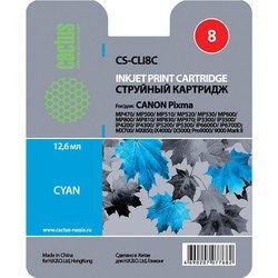 Картридж для Canon Pixma iP 4200, 4300, 4500, 5200, 5300, 6600, 6700, Pixma MP500, 530, 600, 610, 800, 810, 830, 950, 960, 970, MX850, Pixma Pro 9000 (Cactus CS-CLI8C) (голубой) - Картридж для принтера, МФУ