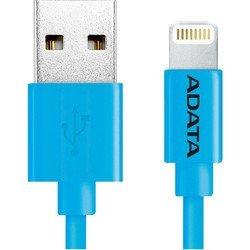Дата-кабель Lightning - USB для Apple iPhone 5, 5C, 5S, 6, 6 plus, 6S, 6S plus, iPad 4, Air, Air 2, mini 1, mini 2, mini 3 (A-DATA AMFIPL-100CM-CBL) (синий) - КабелиUSB-, HDMI-кабели, переходники<br>Кабель для синхронизации и зарядки аккумулятора, разъемы Lightning - USB, длина 1 м.