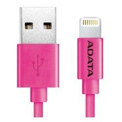 Дата-кабель Lightning - USB для Apple iPhone 5, 5C, 5S, 6, 6 plus, 6S, 6S plus, iPad 4, Air, Air 2, mini 1, mini 2, mini 3 (A-DATA AMFIPL-100CM-CPK) (розовый) - КабелиUSB-, HDMI-кабели, переходники<br>Кабель для синхронизации и зарядки аккумулятора, разъемы Lightning - USB, длина 1 м.