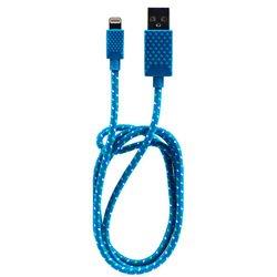 Кабель USB-Lightning для Apple iPhone 5, 5C, 5S, SE, 6, 6 plus, 6S, 6S plus, iPad 4, Air, Air 2, mini 1, mini 2, mini 3, mini 4, PRO 12.9, PRO 9.7 (QUMO MFI AP300) (синий) - КабелиUSB-, HDMI-кабели, переходники<br>Кабель с разъемами USB-Lightning, тип USB 2.0, длина 1 м, тканевая оплетка кабеля.