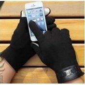 Перчатки для сенсорных экранов iCasemore (с пряжкой, черный) - Перчатки для сенсорных экрановПерчатки для сенсорных экранов<br>Кашемировые перчатки с вплетенным в кончики пальцев металлизированным нитям подойдут для работы с любыми емкостными дисплеями.