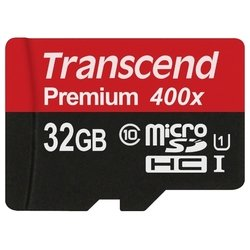 Transcend TS32GUSDCU1 400x - Карта флэш-памятиКарты флэш-памяти<br>Transcend TS32GUSDCU1 400x - microSDHC, 32Гб, 400 x, 60Мб/с
